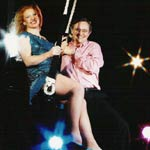 PIC OF NICK AND CHARLIE ON FLYING TRAPEZE, Photograph by Mark Harrison, courtesy Radio Times